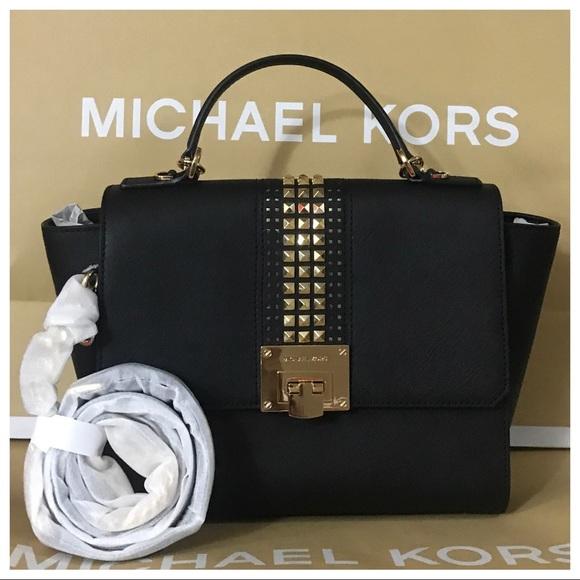 98d6f806dff22e Michael Kors Bags | Nwt Mk Tina Medium Studded Leather Satchel ...